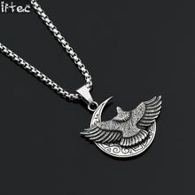 Mens Necklaces Stainless Steel Vintage Military Silver Flying Eagle Wing Moon Pendant Choker Hip Hop Punk Bike Jewelry