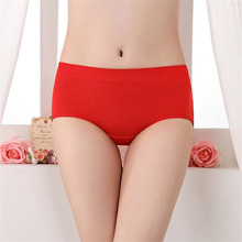 Buy New Year Women Red Panties Modal Breathable Middle-waisted Hip-lifting Briefs Lady Cotton Skin-friendly Elastic Underpants 2018
