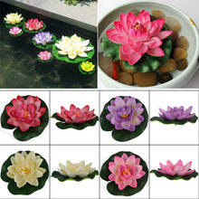 1Pc Artificial Lotus Water lily Floating Flower Garden Pool Pond Tank Plant Ornament Decoration 5 Colors(China)