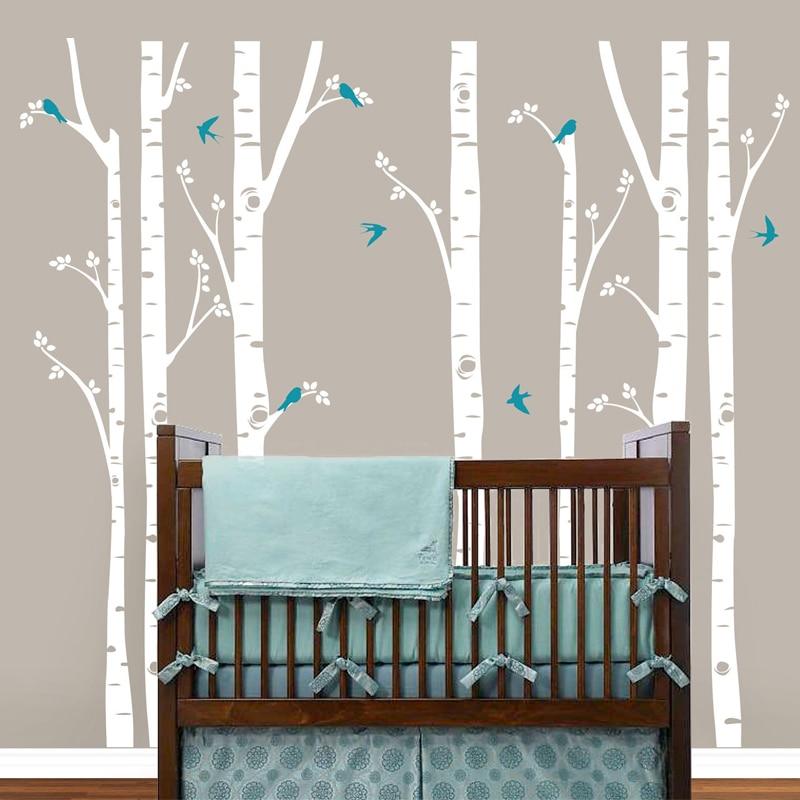 Huge Birch Tree Birds Wall Sticker Vinyl Nursery Wall Art DIY Stickers For Kids Baby Rooms & 252*243cm Birch Trees Wall Decal Tree Wall Sticker Removable White ...