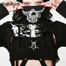 Gothic skull stampa scheletro con cappuccio a maniche lunghe t-shirt  turtlenek punk stile hip donne catena crop top fresco stree. ed028e05d3d7