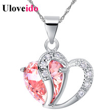 15% Off Heart Choker Necklace Women Necklaces & Pendants for Women 2017 Crystal Pendant Purple Pink Blue Jewelry Uloveido N673(China)