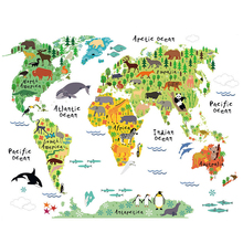 Colorful Animal World Map Vinyl Wall Sticker For Kids Room Home Decor 3D Decals creative Pegatinas De Pared Living Room Stickers