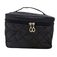 New Zipper Cosmetic Storage Make up Bag Handle Train Case Purse-M black(China)