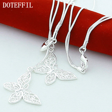Ferr Shipping! 1 Pcs Wholesale 925 Sterling Silver Two Butterfly Necklace / Chain 18 Inch Factory Outlet