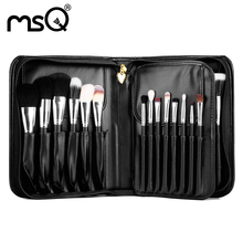 Brand Pro Makeup Cosmetic 29 Pcs/Set Artist Brush 2017 Goat Hair Wood Handle Fashion Women Cosmetic Black Pu Leather Box Kit Hot(China)