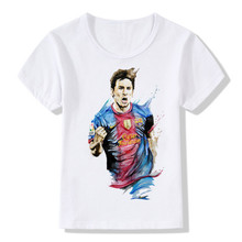 Boy and Girl Barcelona Messi Printing T-shirts Children Funny Messi Customs T shirts Kids Messi Tops Tee Baby Clothes,HKP279(China)