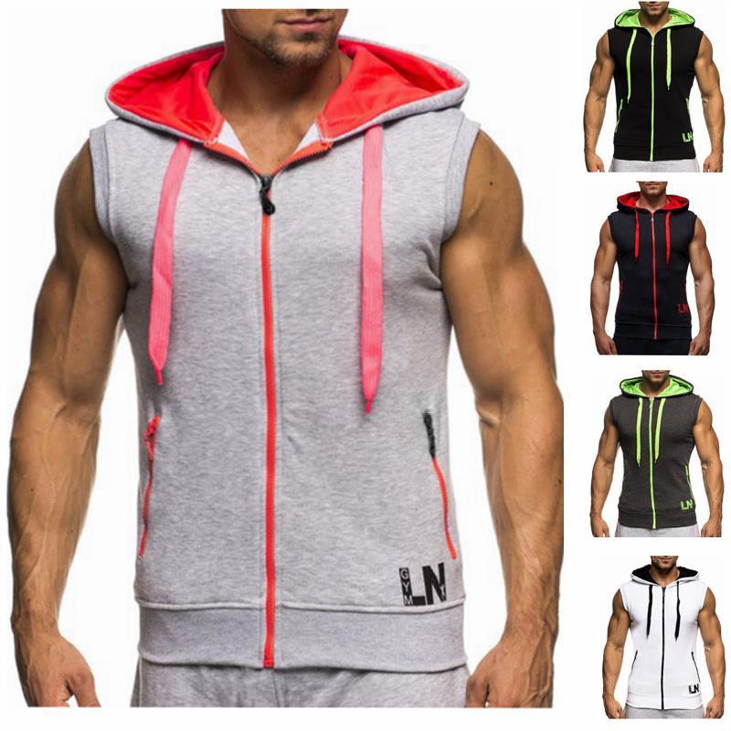 Male Bodybuilding Hoodies Fitness Clothes Hoody Cotton Hoodie Men Sweatshirts Men's Sleeveless Tank Tops Casual Vest 5