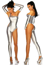 Black Silver Gold Sexy One Leg Bodysuit +Gloves Erotic Faux Leather Catsuit PVC Lingerie Costume Nightclub Dancing Clothing
