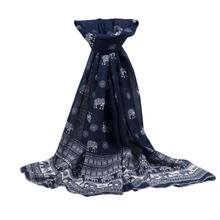 Winter Scarf Womens Elephent Printed Chiffon Long Soft Tunic Ladies Shawls And Wraps Scarves Foulard Echarpe Hiver Femme(China)