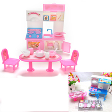 Free Shiping Cute Dinner Table Cupboard Sink Kitchenware Set House Toys For Barbie Doll Accessories 20Pcs/set(China)