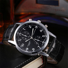 Mens Watches Top Brand Luxury Unisex PU Leather Stainless Steel Dial Quartz Wrist Watch Erkek Kol Saati Relogio Masculino