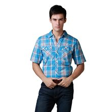 WOW! Brand Shirt Men Westtern Shirt Short Sleeve Casual 100% Cotton Plaid Washed Soft Quality Shirts US Size S/M/L/XL New Sales(China)