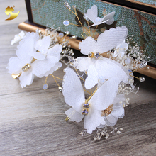 Women Hair Accessories Handmade Rhinestone Hairbands Preserved Flowers Decorated Headbands Butterfly Hair Clip For Wedding Party(China)