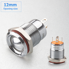 free shipping 12mm new product waterproof reset self locking  ring led mini metal button switches 12v  24v car computer