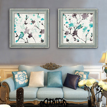 Free Shipping Framed Canvas Painting Art Blue Flowers And Birds Painting Canvas Print Wall Art Home Decor Decoration