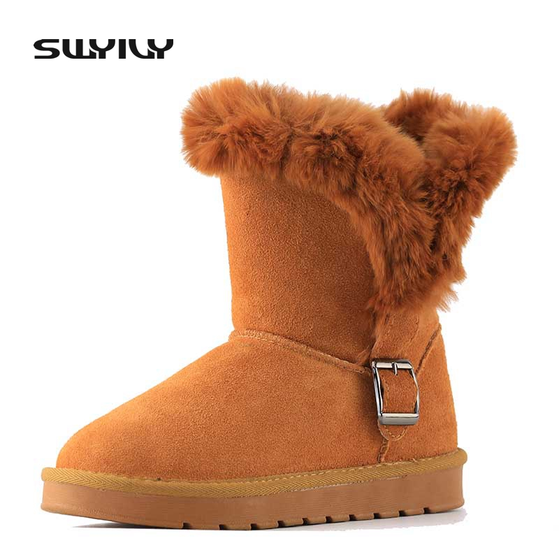 Genuine Leather Rabbit Fur Winter Snow Boots For Woman 2017 New Bucklet Fur Warm Female Snowboots Cotton Shoes Flat 41<br>
