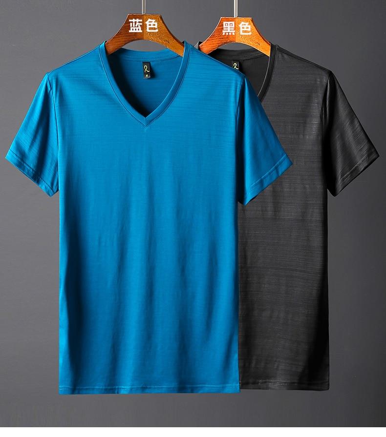 2018 Summer High quality men T shirt casual short sleeve V-neck Mercerized cotton t-shirt men brand icy Silk black Co (11)