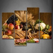 4 panel canvas art large poster HD printed canvas painting Brown Fresh Food Grape Apple Fru print art home decor for living room(China)