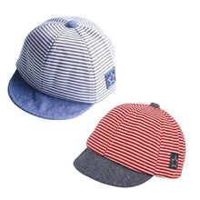 New Summer Fashion Baby Striped Hat Cotton Blend Baby Boy Cap Adjustable Infant Hats for Girls 6-18M A