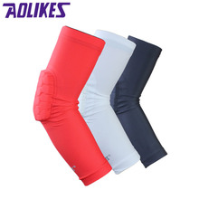 AOLIKES 1 Pair Hex Honeycomb Sponge Basketball Arm Sleeves Anti-crash Compression Armband Sport Elbow Pads Coderas Protector
