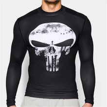 Hot 2017 Punisher Superhero Superman/Batman Men Long Sleeve T Shirt G ym Compression Tights Tops Fitness T-shirt(China)