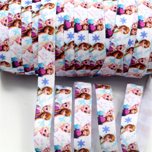 "5/8"" 16mm 50 Yards Single Face Printed Fold Over Elastic Hair Tie DIY Handmade Ponytail Band Decoration HT01-PG025-02460"
