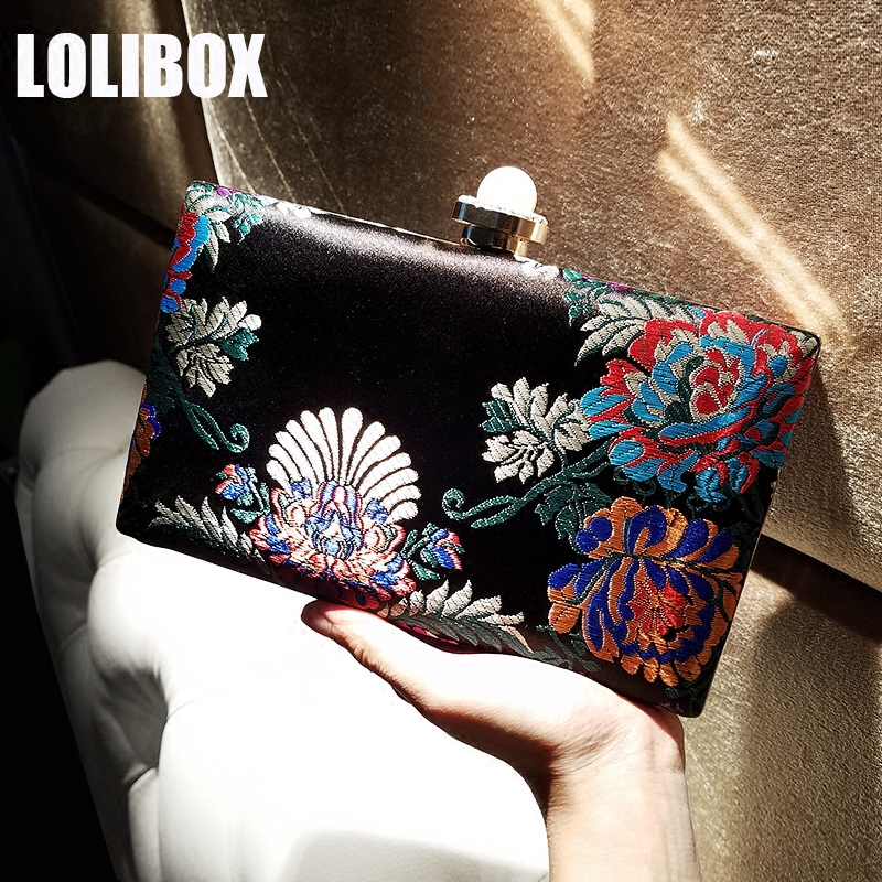 LOLIBOX women evening clutch bags satin embroidery flowers peony pearl diamond chain bag cheongsam evening party clutches purses<br>