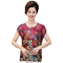 WAEOLSA Middle Aged Women Summer Flower Blouses Red Blue Yellow Tops Mother Chiffon Blouse Plus Size Tunic Woman Cap Sleeved Top