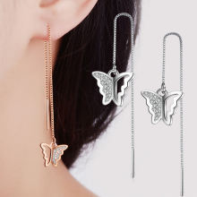 Stud earring butterfly high quality nickel-free cute romantic fashion jewelry ear cuff women ear chain fashion jewelry