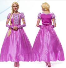 Free shipping princess Rapunzel Halloween sexy M-XL Women Adult party Costume Cosplay fancy dress+gloves carnival Dress(China)