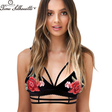 Summer Sexy Black Satin Floral Embroidery Push Up Bra Bralette Triangle Strappy Hollow Out Brassiere Party Crop Top L117