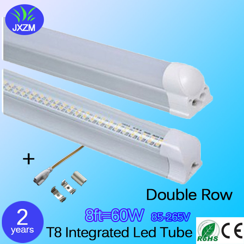 25pcs 60W Double Row T8 Integrated Led Tube 8ft SMD 2835 85-265V led fluorescent Lighting lamp 2 years warranty free shipping<br><br>Aliexpress