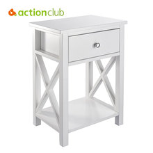 Actionclub X Design Side End Table Living Room Storage Shelf With Bin Drawer White Black DIY Install Medium Density Fiberboard