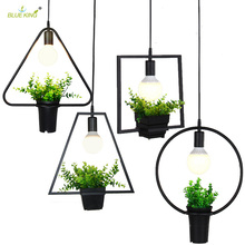 Modern Industrial Wrought iron modern pendant lights with green plant Kitchen Restaurants Bar dining Home Lighting fixture(China)