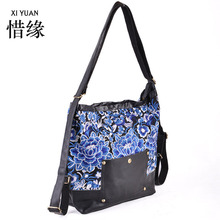 XIYUAN BRAND famous and Exquisite big blue shoulder bags for women luxury bags canvas for autumn,Dual-use backpack bag