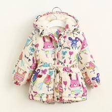 2017 Winter Kids Jackets And Coats Girls Cartoon Graffiti Hooded Parkas Waist Thickened Outwear Children's Winter Clothing