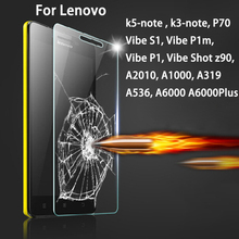 9H Toughened scren protector Glass for Lenovo vibe shot z90 S1 P1 P1m K5Note K3note A319 A536 A2010 A1000 A6000 A7000 plus P70
