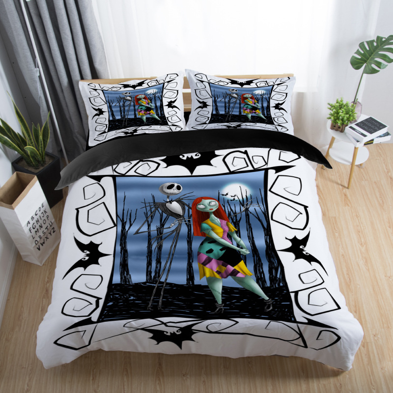 skull couples bedding set skull bed set 3D Nightmare Before Christmas Duvet Cover Jack and Sally Valentine`s Day Rose Decor 5 (6)