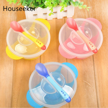 Baby Kids Sucker Bowl Spoon Set Toddler Child Feeding Lid Training Bowl with Spoon Cartoon Dinner Feeding Tableware Plate
