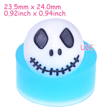 JYL182U 24mm Halloween Skull Flexible Mold - Skull Silicone Mold Cupcake Topper Sugarcraft Resin Fimo Clay, Gum Paste Soap Mold
