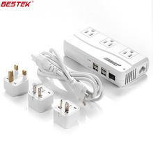 BESTEK Travel Voltage Converter With USB Port 6A 4 USB Ports And UK/AU/US/EU Travel Adapter Power Strip Portable Power Outlet