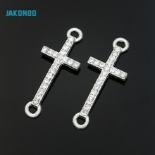 6pcs Silver Plated Enamel Cross Jesus Connectors fit Jewelry Making Bracelet Findings Accessories DIY Craft 27x11mm
