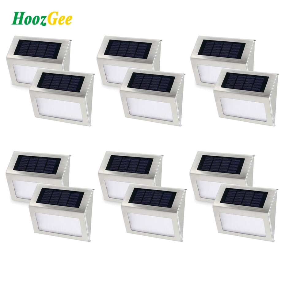HoozGee Solar Step Lamp Wireless Waterproof Security Garden Stairway Wall Path Outdoor Light 3 LED Stair Deck 6/12Pcs<br>