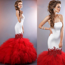 2016 Extravagant Mermaid Wedding Gowns Strapless Long Torso Glittering Lace Appliques Ruffled Red Tulle Bridal gowns Dresses