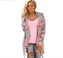 New fashion lady knitted cardigan Coat winter fashion Collarless Long Sleeve printing irregular sexy lady warm sweater -2262A