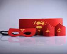 Halloween Superheld red polsband pols riem 1set=2 band+1 superheld cosplay armbanden armbanden superman riem Kids toys(China)