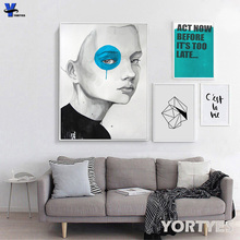 Nordic Style Canvas Prints Wall Art Pictures Home Decor Wall Paintings , Wall Decor Strange Style Looking Forward Far YORT0055