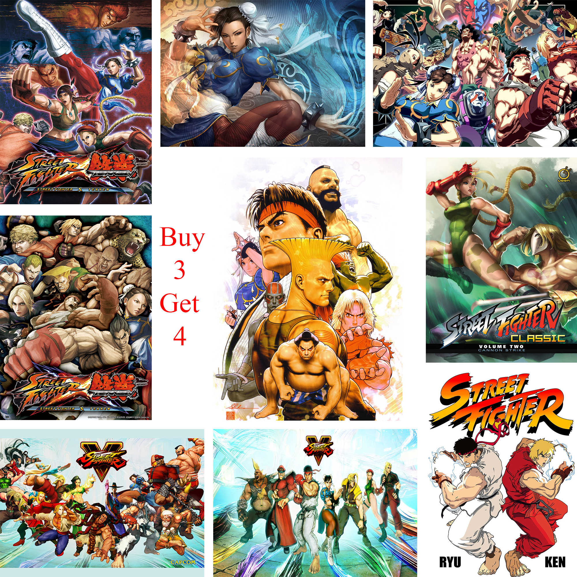 Street fighter posters game wall stickers white coated paper prints home decoration livingroom bedroom bar home