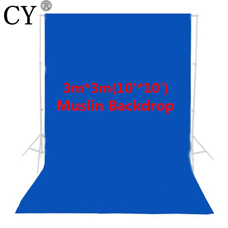 CY Photo Studio 100% Cotton 3m x 3m Solid Blue Muslin Backdrop Photography Backgrounds Backdrops<br>